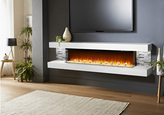 floating electric fireplace